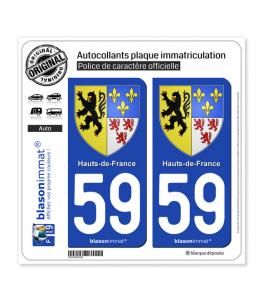 59 Hauts-de-France - Armoiries | Autocollant plaque immatriculation