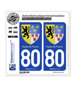 80 Hauts-de-France - Armoiries | Autocollant plaque immatriculation