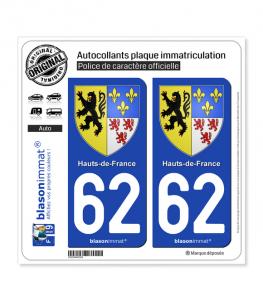 62 Hauts-de-France - Armoiries | Autocollant plaque immatriculation