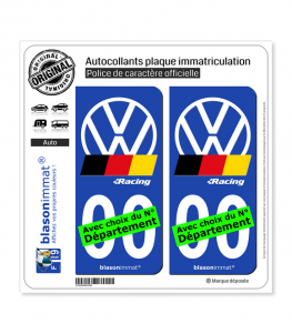 Volkswagen - Racing | Autocollant plaque immatriculation