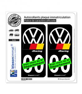 Volkswagen - Racing   Autocollant plaque immatriculation (Fond Noir)