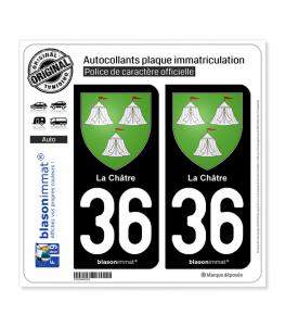 36 La Châtre - Armoiries | Autocollant plaque immatriculation
