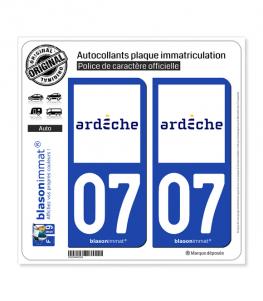 07 Ardèche - Département | Autocollant plaque immatriculation