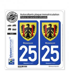 25 Besançon - Armoiries | Autocollant plaque immatriculation