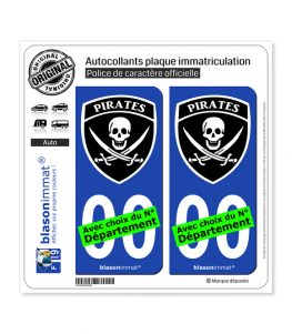 Pirates - Blason | Autocollant plaque immatriculation