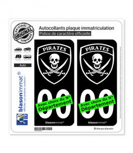 Pirates - Blason | Autocollant plaque immatriculation (Fond Noir)