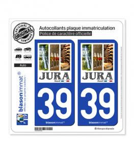 39 Jura - Massif | Autocollant plaque immatriculation