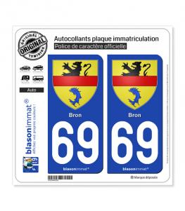 69 Bron - Armoiries | Autocollant plaque immatriculation