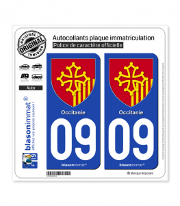 09 Occitanie - Armoiries | Autocollant plaque immatriculation