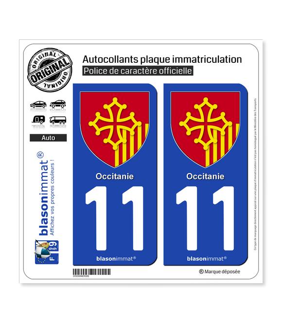 11 Occitanie - Armoiries | Autocollant plaque immatriculation