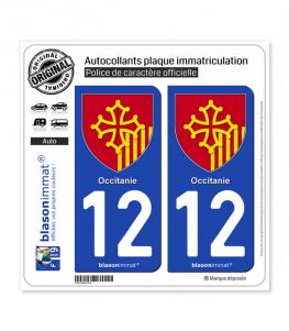 12 Occitanie - Armoiries | Autocollant plaque immatriculation