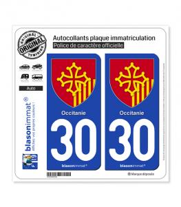 30 Occitanie - Armoiries | Autocollant plaque immatriculation