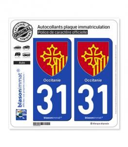 31 Occitanie - Armoiries | Autocollant plaque immatriculation