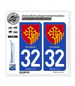 32 Occitanie - Armoiries | Autocollant plaque immatriculation