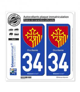 34 Occitanie - Armoiries | Autocollant et plaque immatriculation