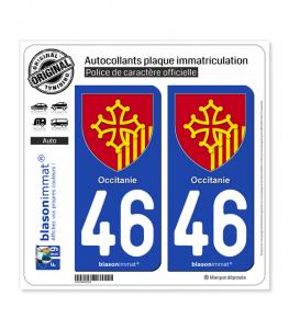 46 Occitanie - Armoiries | Autocollant plaque immatriculation