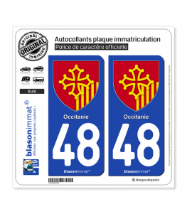 48 Occitanie - Armoiries | Autocollant plaque immatriculation