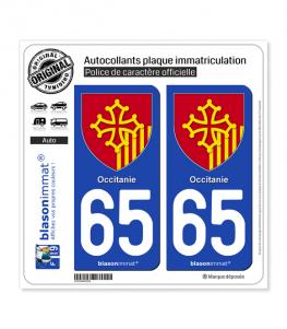 65 Occitanie - Armoiries | Autocollant plaque immatriculation