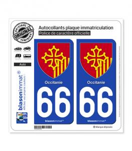 66 Occitanie - Armoiries | Autocollant plaque immatriculation