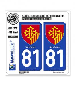 81 Occitanie - Armoiries | Autocollant plaque immatriculation