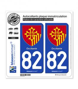 82 Occitanie - Armoiries | Autocollant plaque immatriculation
