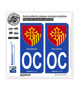OC Occitanie - Armoiries | Autocollant plaque immatriculation