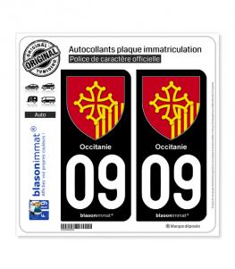 09 Occitanie - Armoiries   Autocollant plaque immatriculation