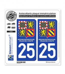 25 Bourgogne-Franche-Comté - LogoType II | Autocollant plaque immatriculation