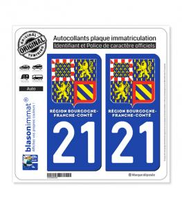 21 Bourgogne-Franche-Comté - LogoType II | Autocollant plaque immatriculation