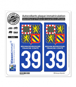 39 Bourgogne-Franche-Comté - LogoType II | Autocollant plaque immatriculation