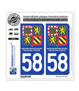 58 Bourgogne-Franche-Comté - LogoType II | Autocollant plaque immatriculation
