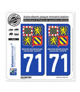 71 Bourgogne-Franche-Comté - LogoType II | Autocollant plaque immatriculation