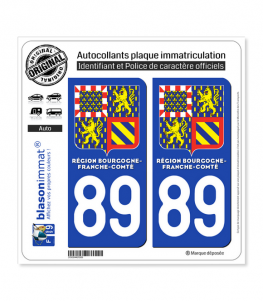 89 Bourgogne-Franche-Comté - LogoType II | Autocollant plaque immatriculation