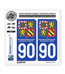 90 Bourgogne-Franche-Comté - LogoType II | Autocollant plaque immatriculation
