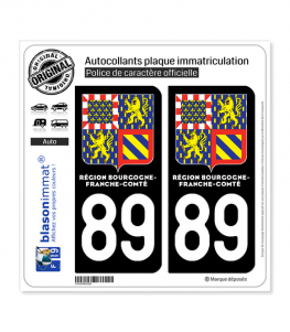 89 Bourgogne-Franche-Comté - LogoType II   Autocollant plaque immatriculation