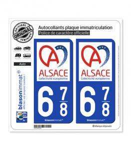 678 Alsace - Collectivité européenne | Autocollant plaque immatriculation
