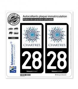 28 Chartres - Ville | Autocollant plaque immatriculation