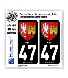 47 Agen - Armoiries | Autocollant plaque immatriculation