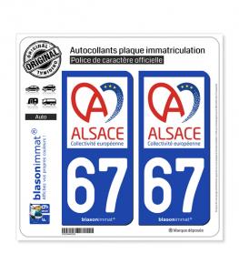 67 Alsace - Collectivité européenne | Autocollant plaque immatriculation