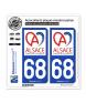 68 Alsace - Collectivité européenne | Autocollant plaque immatriculation