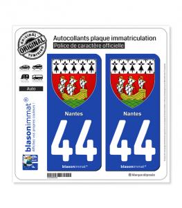 44 Nantes - Armoiries | Autocollant plaque immatriculation