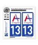 13 Aubagne - Ville | Autocollant plaque immatriculation