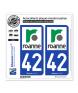 42 Roanne - Ville | Autocollant plaque immatriculation