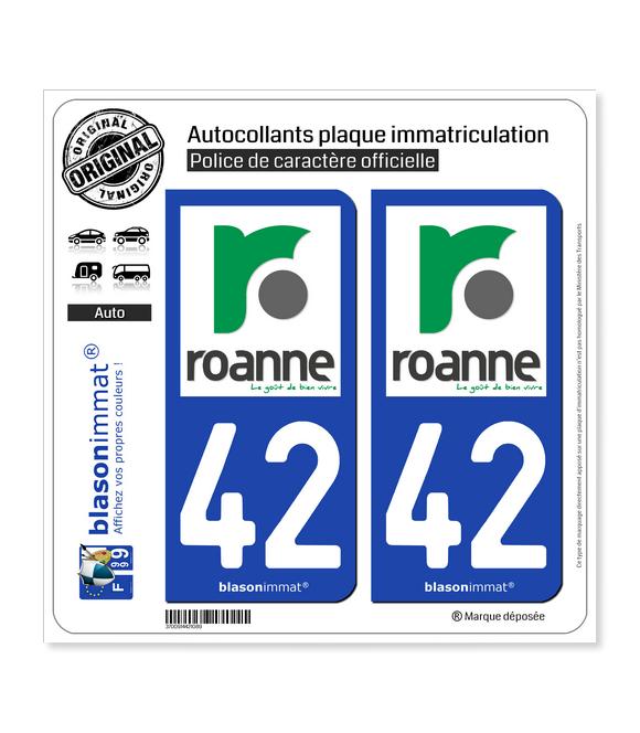 42 Roanne - Ville   Autocollant plaque immatriculation