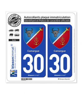 30 Camargue - Armoiries | Autocollant plaque immatriculation