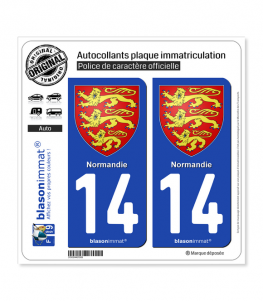 14 Normandie - Les 3 Léopards | Autocollant plaque immatriculation