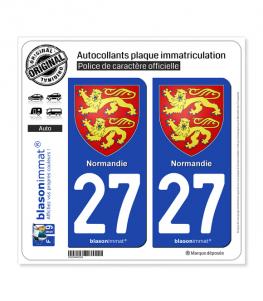 27 Normandie - Armoiries | Autocollant plaque immatriculation