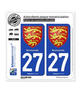 27 Normandie - Les 3 Léopards | Autocollant plaque immatriculation