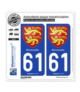 61 Normandie - Armoiries | Autocollant plaque immatriculation