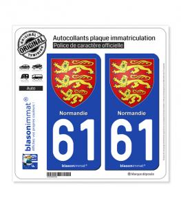 61 Normandie - Les 3 Léopards | Autocollant plaque immatriculation